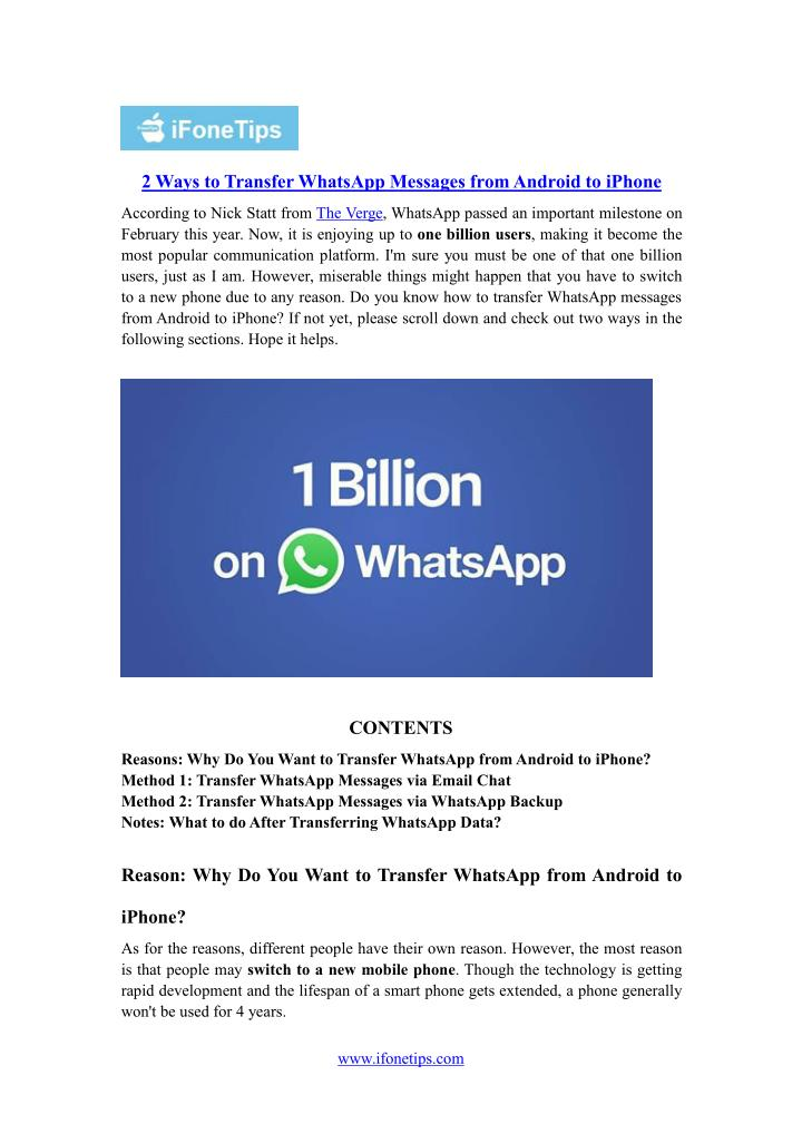 2 Ways to Transfer WhatsApp Messages fromAndroid to iPhone