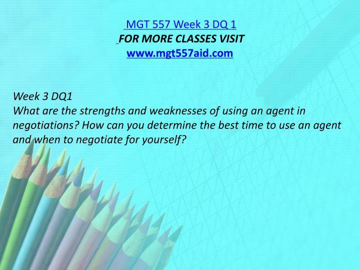 MGT 557 Week 3 DQ 1