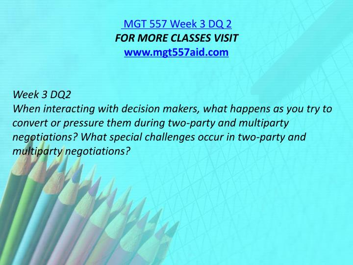 MGT 557 Week 3 DQ 2
