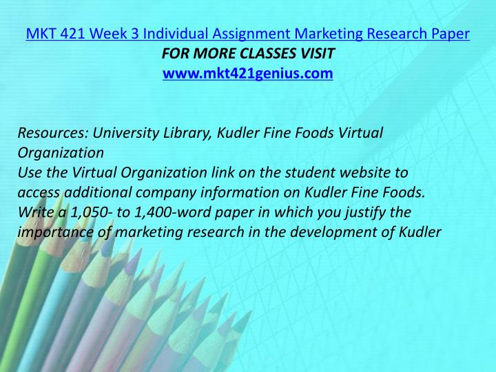 MKT 421 Week 3 Individual Assignment Marketing Research Paper