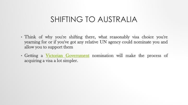 Shifting to australia
