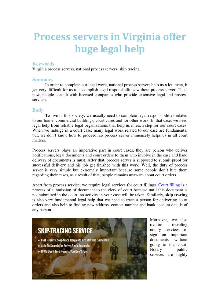 Process servers in Virginia offer