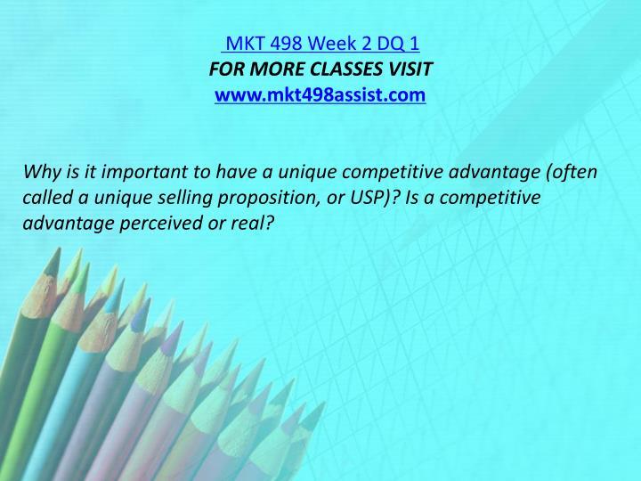 MKT 498 Week 2 DQ 1