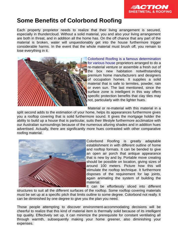 Some Benefits of Colorbond Roofing
