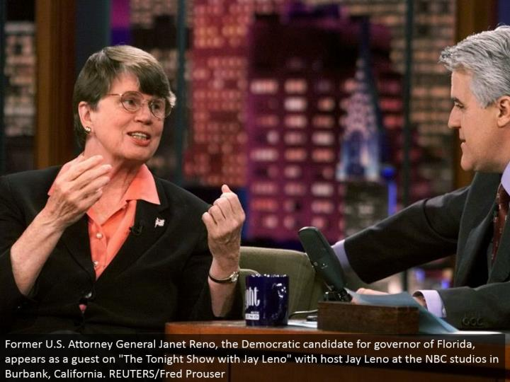 "Former U.S. Lawyer General Janet Reno, the Democratic contender for legislative head of Florida, shows up as a visitor on ""The Tonight Show with Jay Leno"" with host Jay Leno at the NBC studios in Burbank, California. REUTERS/Fred Prouser"