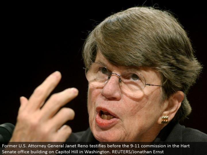 Former U.S. Lawyer General Janet Reno affirms before the 9-11 commission in the Hart Senate office e...
