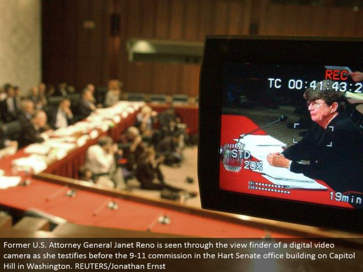 Former U.S. Lawyer General Janet Reno is seen through the view discoverer of a computerized camcorder as she affirms before the 9-11 commission in the Hart Senate office expanding on Capitol Hill in Washington. REUTERS/Jonathan Ernst