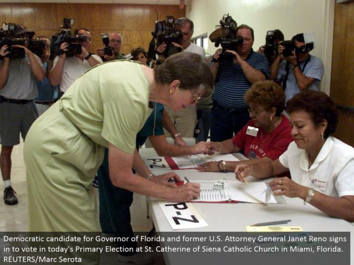 Democratic contender for Governor of Florida and previous U.S. Lawyer General Janet Reno signs into vote in today's Primary Election at St. Catherine of Siena Catholic Church in Miami, Florida. REUTERS/Marc Serota