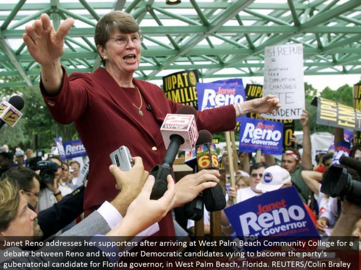 Janet Reno addresses her supporters subsequent to landing at West Palm Beach Community College for a level headed discussion amongst Reno and two other Democratic competitors competing to end up the gathering's gubenatorial contender for Florida representative, in West Palm Beach, Florida. REUTERS/Colin Braley