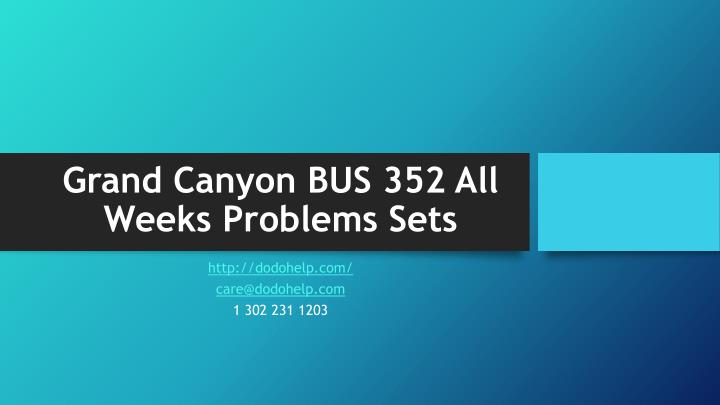 grand canyon bus 352 all weeks problems sets