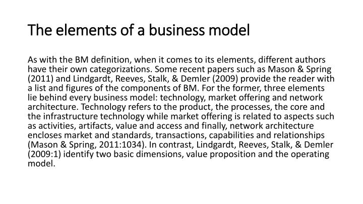 The elements of a business