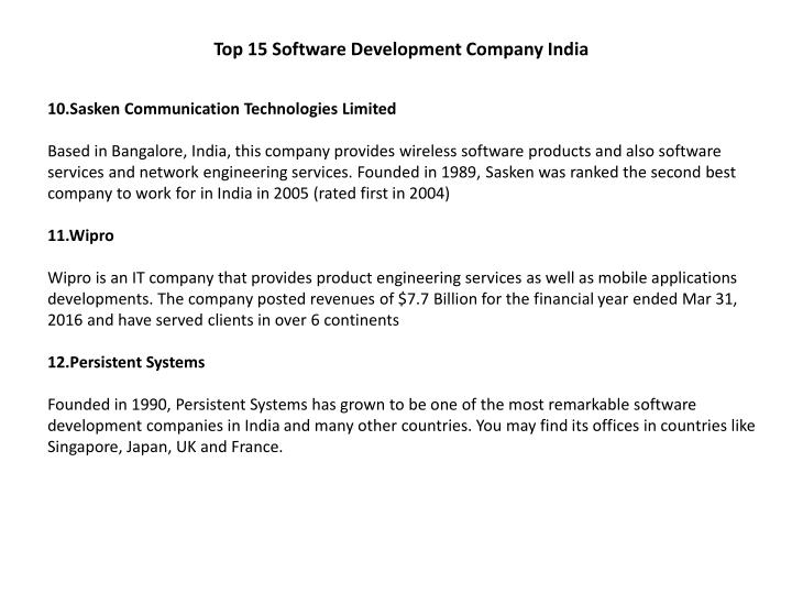 Top 15 Software Development Company India