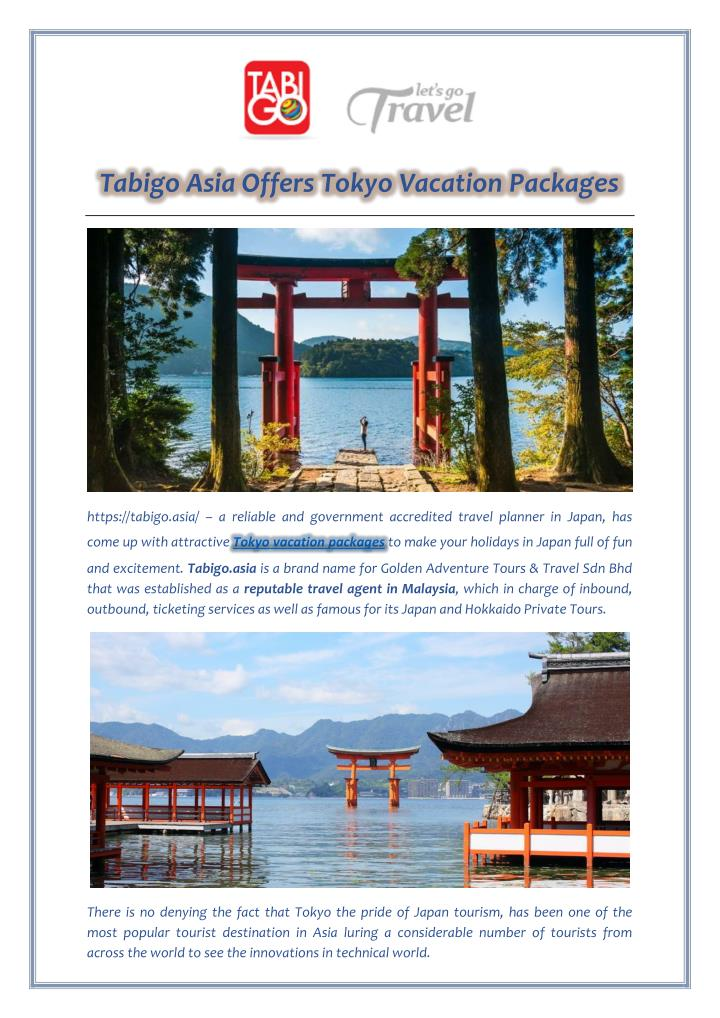 Tabigo Asia Offers Tokyo Vacation Packages