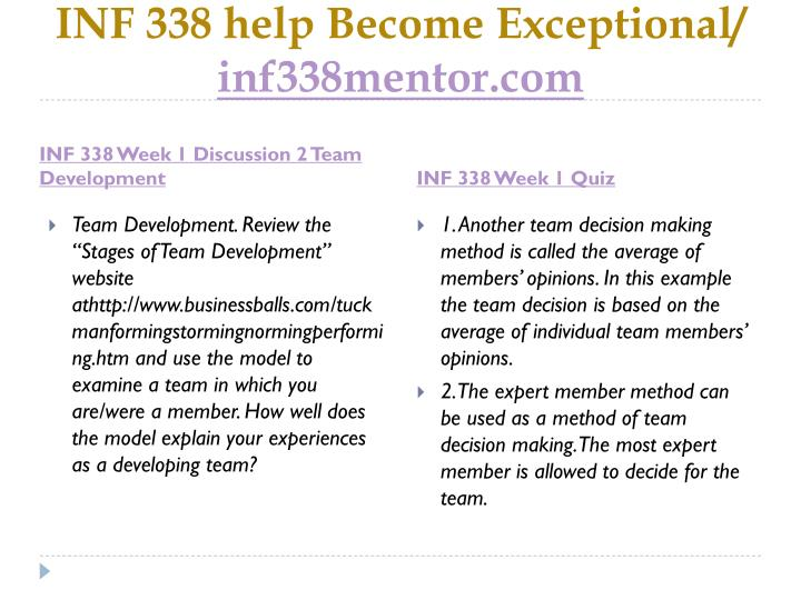 Inf 338 help become exceptional inf338mentor com2