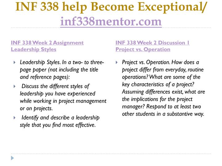 INF 338 help Become Exceptional/