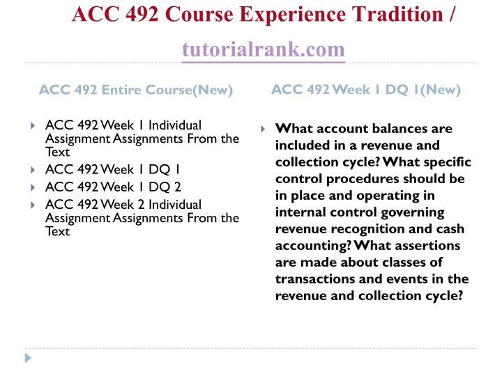 Acc 492 course experience tradition tutorialrank com1