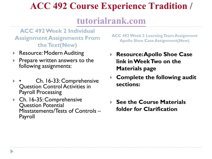 ACC 492 Course Experience Tradition /