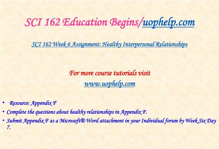 SCI 162 Education Begins/