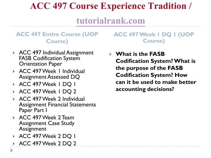 Acc 497 course experience tradition tutorialrank com1