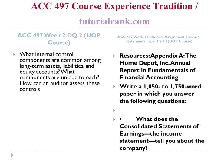 ACC 497 Course Experience Tradition /