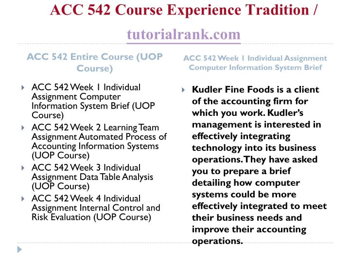 Acc 542 course experience tradition tutorialrank com1