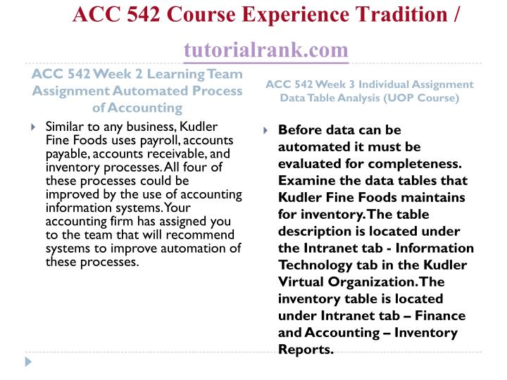 Acc 542 course experience tradition tutorialrank com2