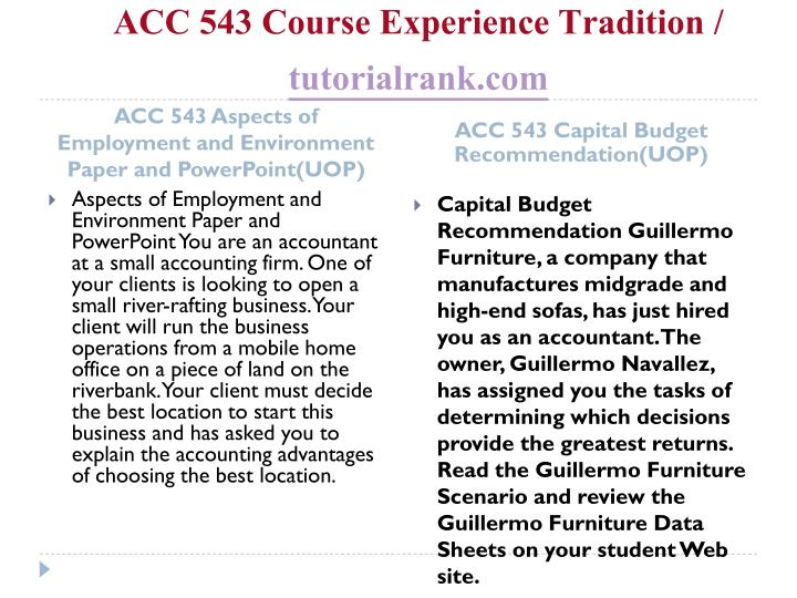 Acc 543 course experience tradition tutorialrank com1