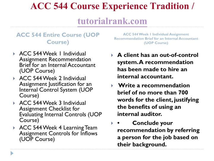 Acc 544 course experience tradition tutorialrank com1