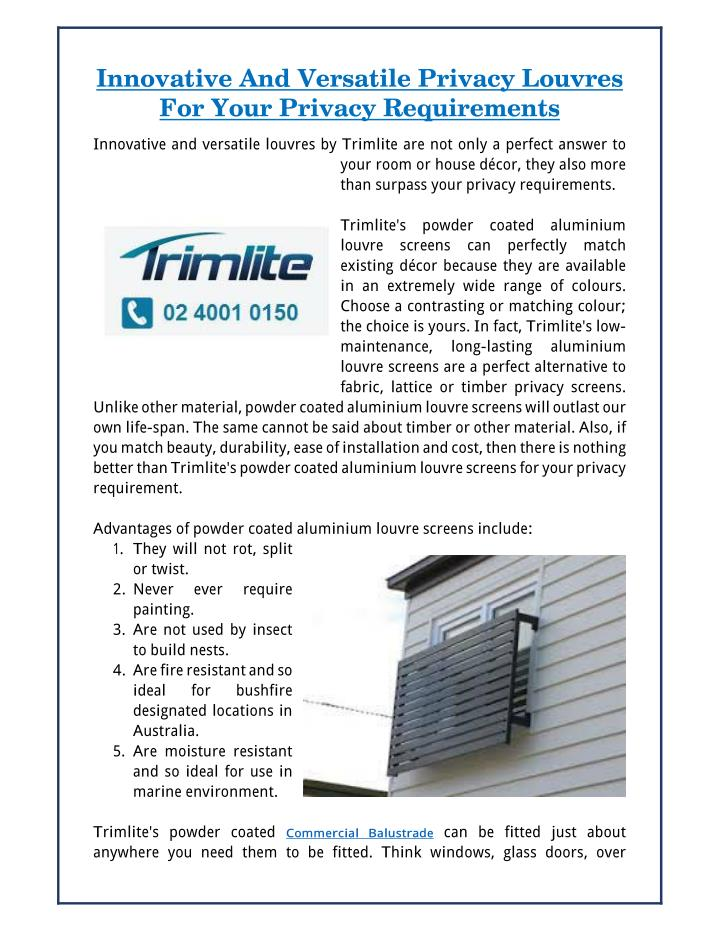 Innovative And Versatile Privacy Louvres