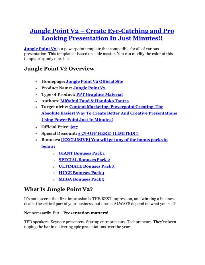 Jungle Point V2 – Create Eye-Catching and Pro