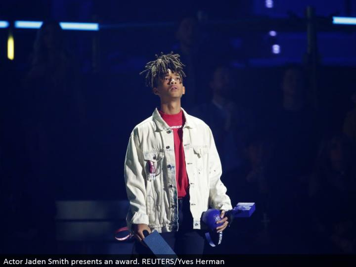 Actor Jaden Smith exhibits a honor. REUTERS/Yves Herman