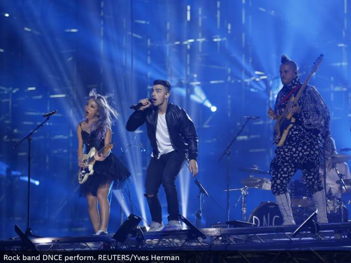 Rock band DNCE perform. REUTERS/Yves Herman