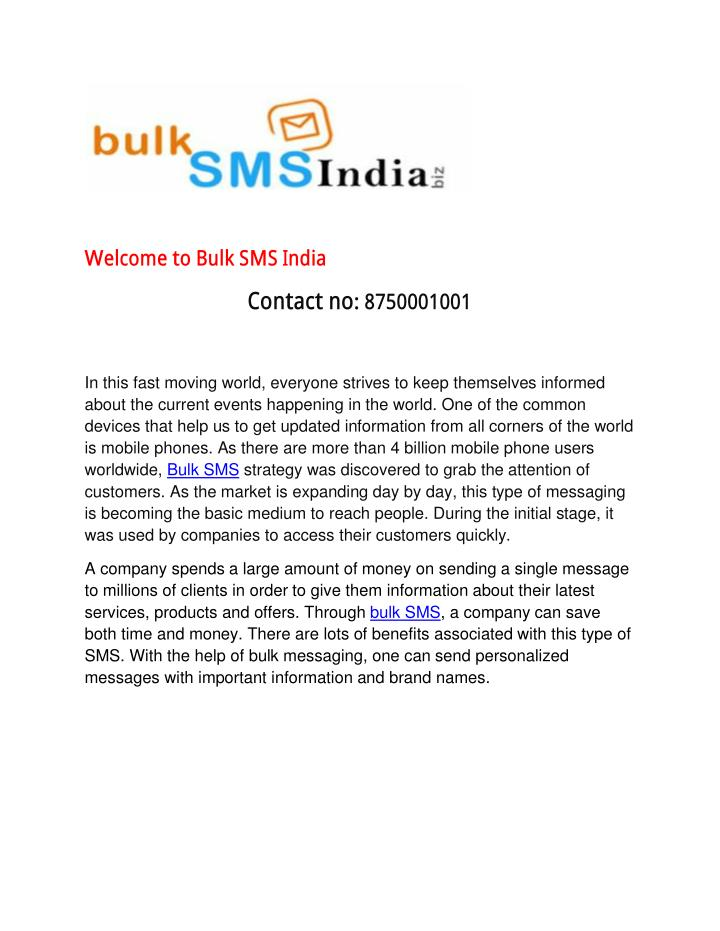 Welcome to Bulk SMS India