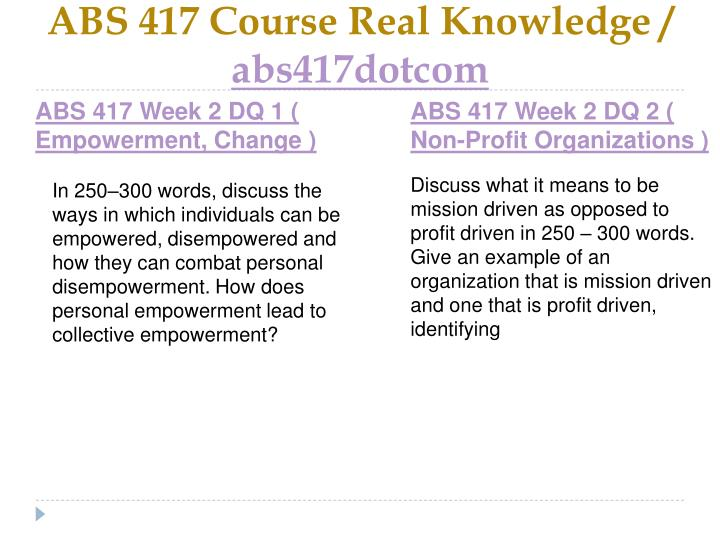 ABS 417 Course Real Knowledge /