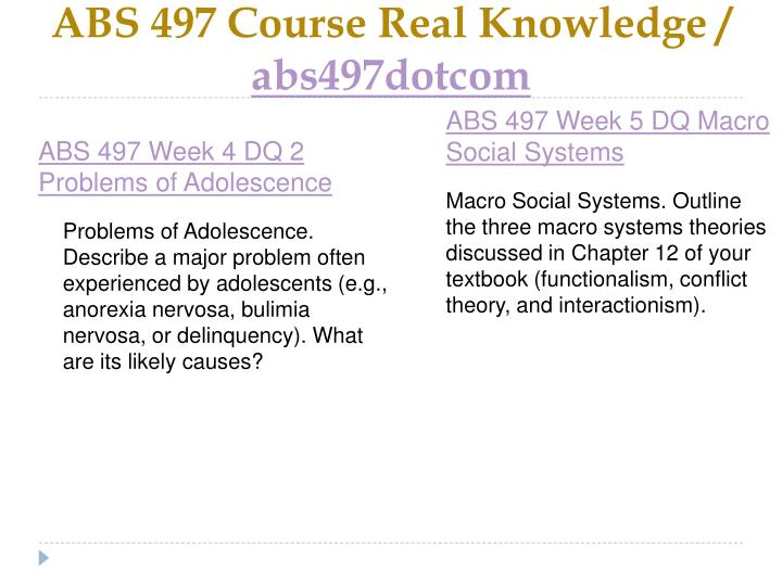 ABS 497 Course Real Knowledge /