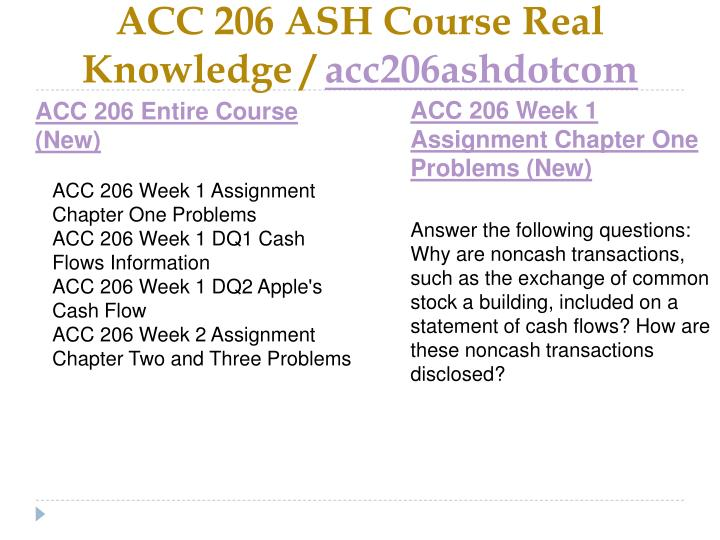 Acc 206 ash course real knowledge acc206ashdotcom1