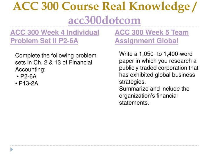 ACC 300 Course Real Knowledge /