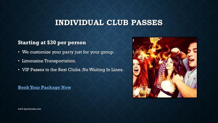 INDIVIDUAL CLUB PASSES