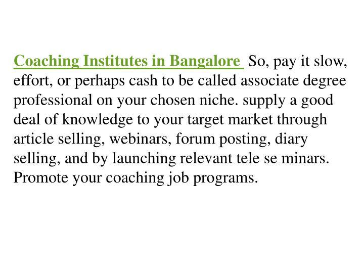 Coaching Institutes in Bangalore