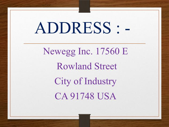 ADDRESS : -