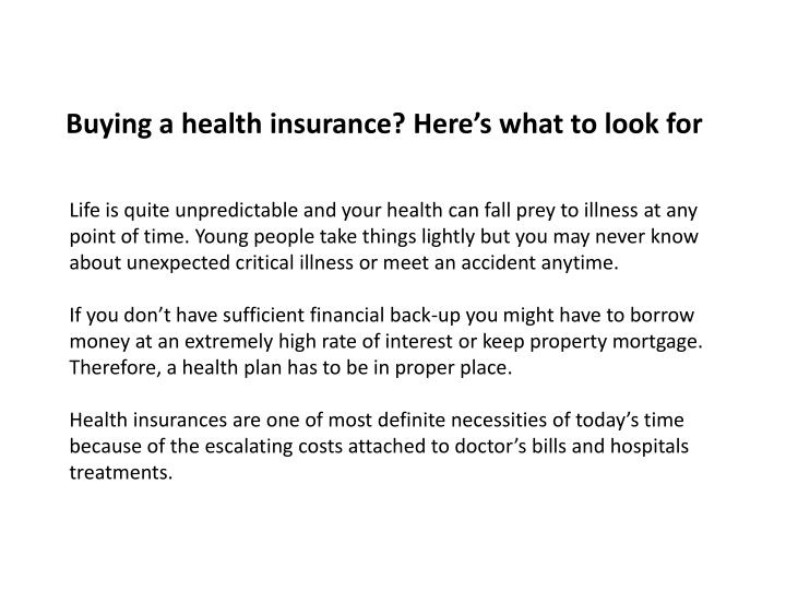 Buying a health insurance here s what to look for