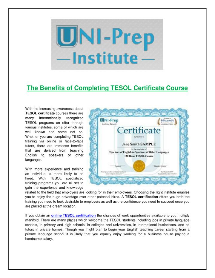 The Benefits of Completing TESOL Certificate Course