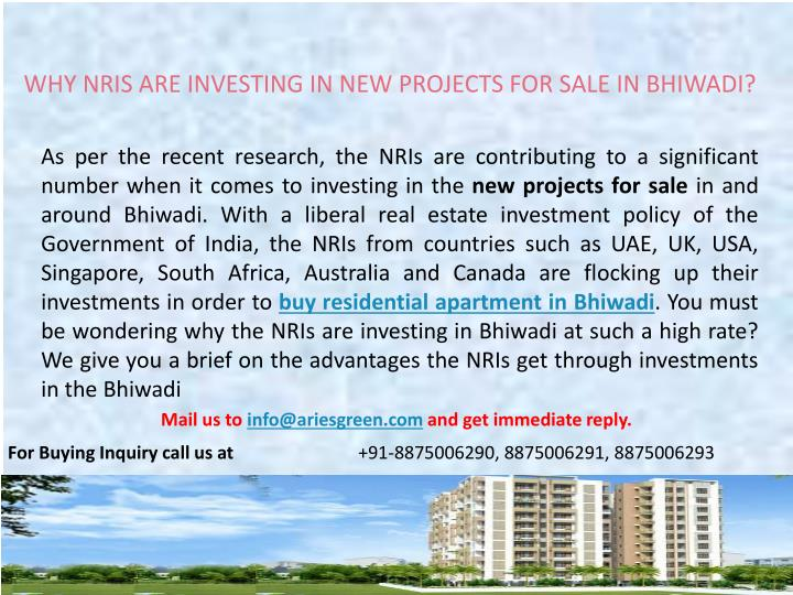 WHY NRIS ARE INVESTING IN NEW PROJECTS FOR SALE IN BHIWADI?