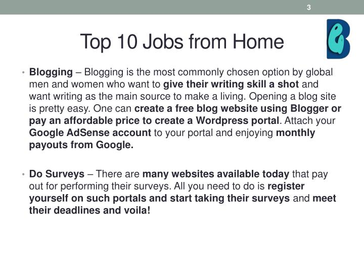 Top 10 jobs from home