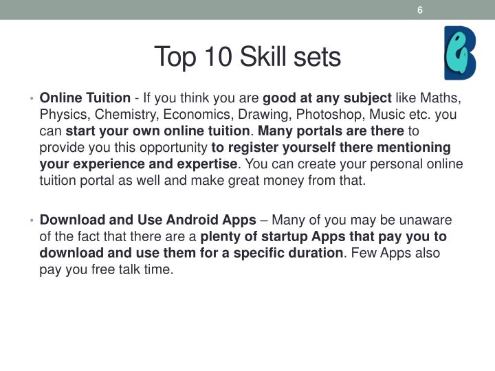 Top 10 Skill sets