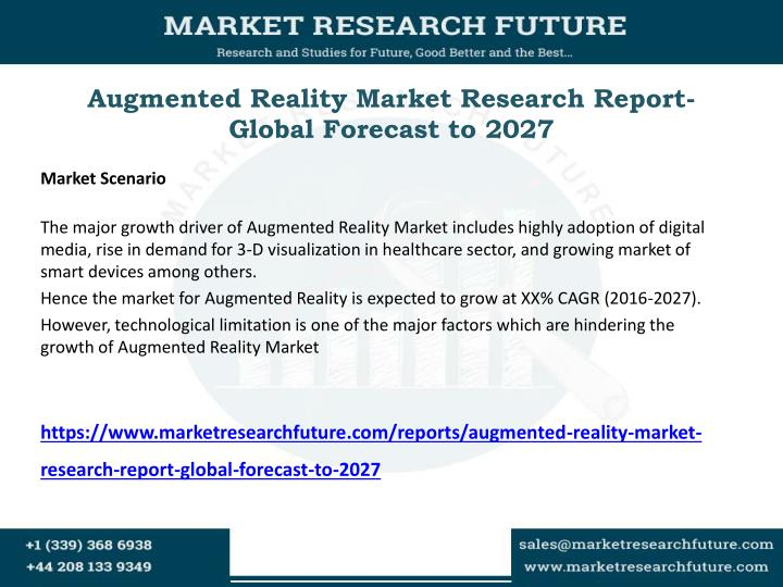 Augmented reality market research report global forecast to 2027