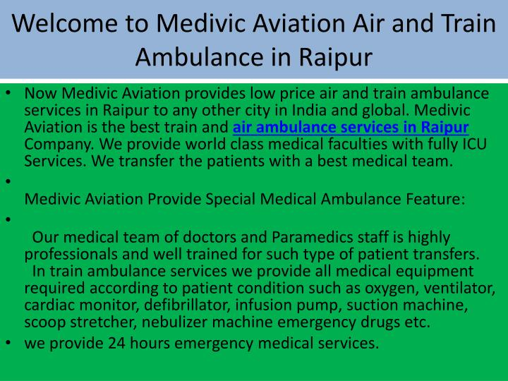 Welcome to medivic aviation air and train ambulance in raipur