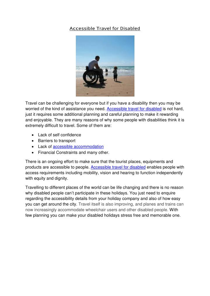 Ac c essible T ravel for Disabled