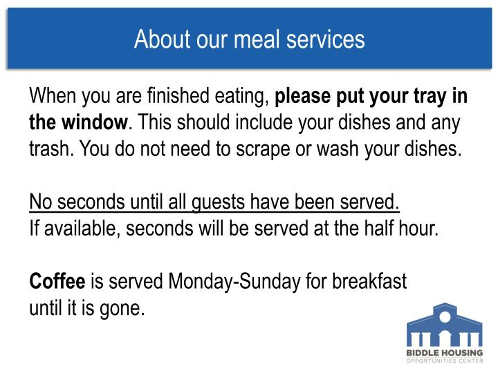 About our meal services