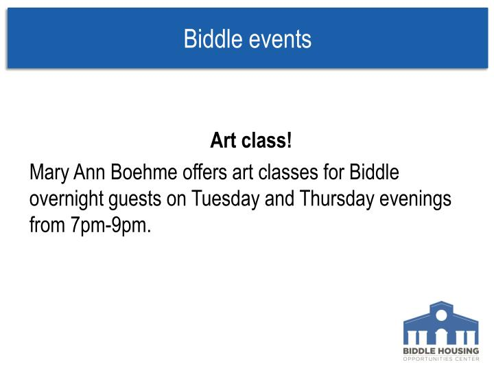 Biddle events
